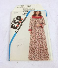 Vtg UNCUT 1982 Simplicity Pullover Caftan Pattern Sz 16 18 20 Costumers Look