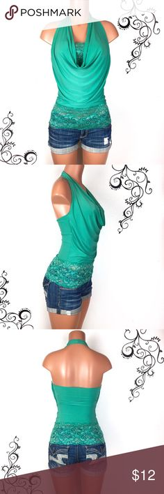 Turquoise cowl neck w lace halter top Pretty turquoise, teal, mint colored cowl neck halter top that's perfect for a night out. Has pretty lace detailing at the bottom and matching built-in lace bandeau.  Slinky stretchy fabric.    Condition: gently used, has a small stain on the side and side seam shows a little stretching, not too bad but I wanted to disclose, see pics for details. Besides this, lace is in perfect condition and top is in good condition overall.  Size: S, fits more like an…
