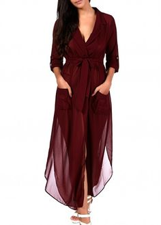 Wine Red High Waist Chiffon Maxi Dress on sale only US$25.43 now, buy cheap Wine Red High Waist Chiffon Maxi Dress at lulugal.com