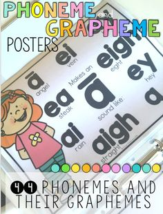 Phonemes and grapheme posters 44 phonemes and over 180 graphemes, with cheat sheets, and editable file. Early Reading, Reading Books, Guided Reading, Teaching Posters, Teaching Jobs, Classroom Resources, Kindergarten Classroom, Teaching Vowels, Phonics For Kids