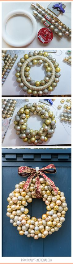 Are you looking for an easy holiday decor project! This beautiful Christmas wreath is a cinch to make with dollar store ornaments and hot glue! Learn how to make an ornament wreath and add some dazzle to your porch today!