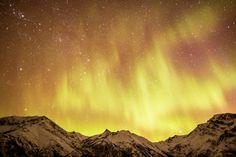 yellow aurora borealis