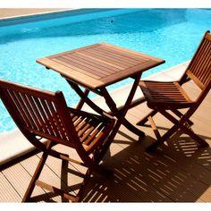 Table en eucalyptus Carrée 70 cm SOPHIE - Look Teck - Maison Facile : www.maison-facile.com