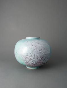 """Brother Thomas, Tsubo form vase, textured turquoise and copper, 7.75 x 8.75 x 8.75"""""""