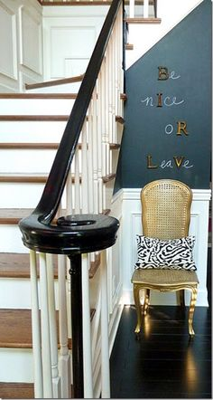 I Love this idea using chalkboard paint in the entryway. The message is pretty clear too! :)