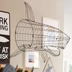 Pottery Barn Shark Wall Decor , Wire Framed Version