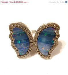 JULY SALE Butterfly Opal matched pair by YaronaJewelryDesign, $358.20
