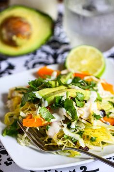 Recipe for Southwestern Chicken and Spaghetti Squash Salad - Like any good salad, this one is all about the dressing. This is so good you'll want to eat it with a spoon!. It's also great as a party dip for carrots, snap peas and cherry tomatoes. Pick your poison.