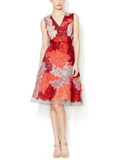 Silk Ribbon Appliqué Dress red knee length Carolina herrera