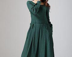 Grey dress women linen dress custom made long dress by xiaolizi