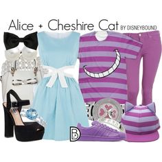 Alice + Cheshire Cat by leslieakay on Polyvore featuring Cutie, Paige Denim, Steve Madden, adidas Originals, Allurez, Carolee, John Lewis, disney, disneybound and disneycharacter