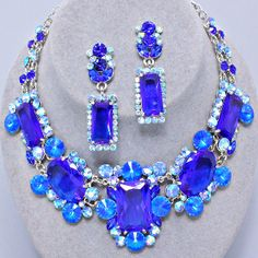 #Vintage #Elegant #Style #Fabulous #RHODIUM #BLUE #Rhinestone #Costume #Jewelry #Necklace #Earrings