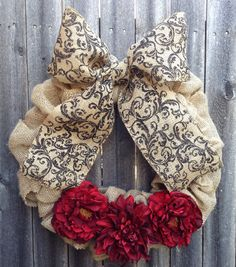 Fall Burlap Bubble Wreath with Damask Bow by KMMGdesigns on Etsy
