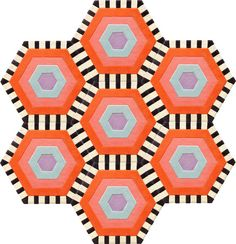 Honeycomb Carpet - Swizzle (7 piece Hexagon) by Kinder GROUND