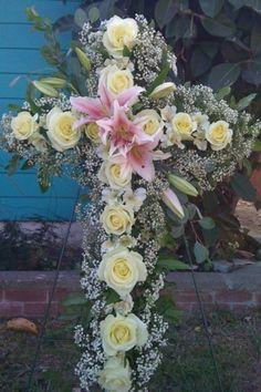 Single rose cross sympathy flowers I made for Matai
