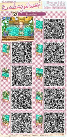 [3DS] 튀어나와요 동물의 숲(とびだせどうぶつの森) - QR Codes - 꽃 송이 수로 패턴 (Blossom lake) : 네이버 블로그 Qr Code Animal Crossing, Animal Crossing Pocket Camp, Animal Crossing Wild World, Acnl Bodendesigns, Leaf Animals, Cute Animals, Acnl Paths, Acnl Qr Code Sol, Motif Acnl