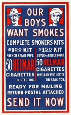 Vintage Tobacco/ Cigarette Ads of Miscellaneous Years Vintage Advertisements, Vintage Ads, Ww1 Posters, Propaganda Art, World War One, Advertising, Messages, History, Smoking Pipes