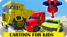 Spiderman Cartoon Policeman party with Big Monster Dump Truck l Nursery ...