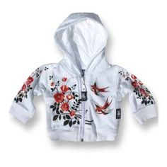 Six Bunnies make Funky Punky Rockabilly Baby & Kids Tattoo Clothing! Super Cute Six Bunnies Tattoo Baby Hoodie featuring Beautiful Roses and Birds! My boy always gets so much wear and fun out of his Six Bunnies stuff that we have to share the fun! Rockabilly Baby, Rockabilly Shop, Rockabilly Fashion, Punk Baby, Baby Outfits, Sweat Shirt, Pinup, Sweat Original, Rock Tattoo