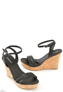 Bamboo Ankle Strap Cork Wedges in Black ABSTRACT-03-BLK