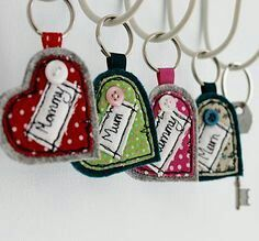 Personalised Heart Keyring by Honeypips, the perfect gift for Explore more unique gifts in our curated marketplace. Freehand Machine Embroidery, Free Motion Embroidery, Crewel Embroidery, Felt Keyring, Keychains, Personalised Love Hearts, Sewing Crafts, Sewing Projects, Little Presents