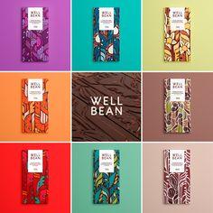 'Well Bean' chocolate on Behance - Chocolate packaging - Chocolate Food Packaging Design, Coffee Packaging, Packaging Design Inspiration, Brand Packaging, Bottle Packaging, Label Design, Box Design, Package Design, Chocolate Brands