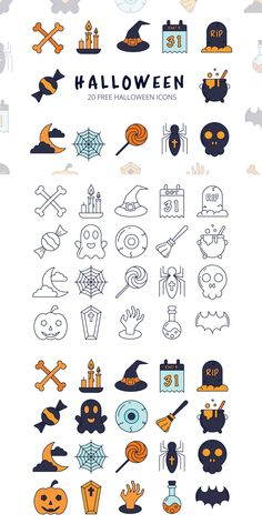 Halloween Vector Free Icon Set is a set of 20 thematic icons. Perfectly suitable for use in a popular holiday - Halloween. Halloween Doodle, Halloween Icons, Halloween Vector, Halloween Design, Halloween Stickers, Design Ios, App Icon Design, Dashboard Design, Flat Design