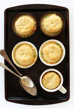 1-hour Vegan Pot Pies! Topped with flaky, homemade vegan biscuits #minimalistbaker