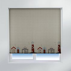 Sunlover Accents Patterned Thermal Roller Blinds, Beach Hut, W120cm