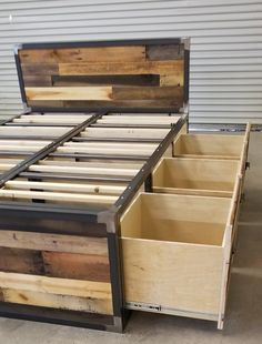 Industrial Style Platform Bed with bottom storage   Etsy