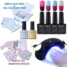 Elite99 Chameleon Nail Polish, UV LED Soak Off Temperature Color Change Gel Polish, Base Top Coat, 36W Nail Lamp(US Plug), 200pcs Gel Remover Wraps, 100pcs Cotton Pads, Nail Art Manicure Set C011. Item Included: 4 Color Chameleon Gel Polish, Top Coat, Base Coat, 36W UV Lamp, 200pcs Gel Remover Wraps, 100pcs Cotton Pads. Elite99 Chameleon Gel polish. These colors change color with the heat of your body. Long lasting for at least 2-3 weeks, fantastic and super bright nails for you. 36W Nail...