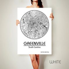 GREENVILLE South Carolina CANVAS Map Greenville by ArchTravel