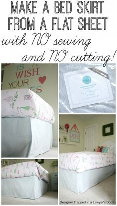 DIY bed skirt from a flat sheet.  Full tutorial by Designer Trapped in a Lawyer's Body {www.designertrapped.com}