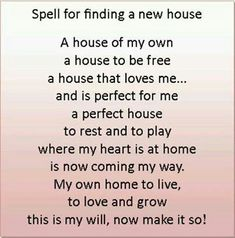 Spell to get a house