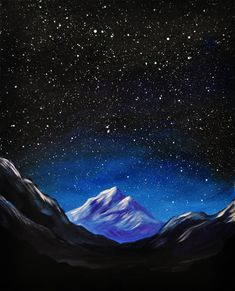 Space Mountain original acrylic landscape painting by MikeSmithArt, $80.00
