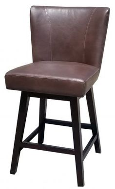 More :: Clearance :: Distress Brown Leather Swivel Counter Stool