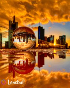 Amazing Captured Beauty ~ with the Lensball ~ with with the water reflection. Just stunning WOW Moonlight Photography, Magical Photography, Glass Photography, Sunset Photography, Creative Photography, Reflection Photos, Reflection Photography, Galaxy Wallpaper, Wallpaper Backgrounds