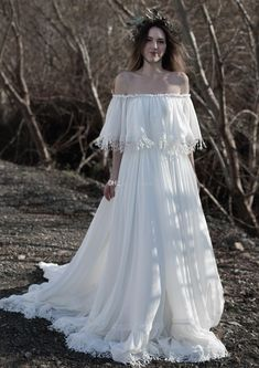 Discount Gypsy Hippie Bohemian Weddin Dress With Tassles Trim Pictures Of Wedding Dresses Second
