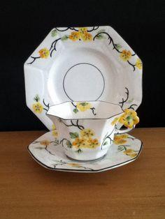 Melba Bone China Trio/ Tea Cup,Saucer & Side Plate