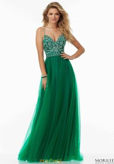 MoriLee V- Neckline Beaded Dress 99103
