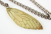 Cicada Wing Necklace by Tigerlillyshop. American Made. See the designer's work at the 2016 American Made Show, Washington DC. January 15-17, 2016. americanmadeshow.com #americanmade, #americanmadeshow, #necklace, #cicada, #jewelry