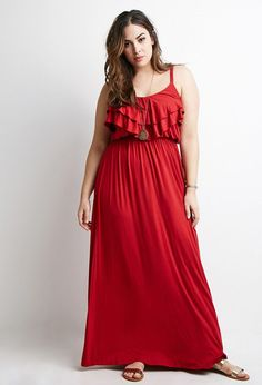 Plus Size Flounce Cami Maxi Dress