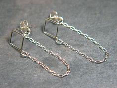 Sterling Silver Chain Earrings Diamond Shape by WearableThings, $28.00