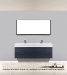 Bliss Walnut Wall Mount Double Sink Modern Bathroom Vanity Los - Bathroom vanities los angeles