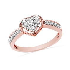 I've tagged a product on Zales: 1/4 CT. T.W. Diamond Heart Ring in 10K Rose Gold