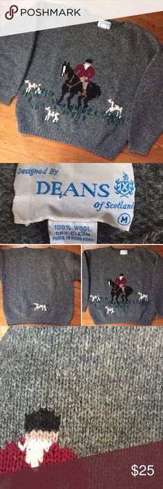 Vintage horse & hounds wool sweater Vintage horse & hounds wool sweater; fun fun! Unisex, tag reads medium (I'm a size 6 modeling for reference). Very very slight discolorations from age in a  few spots but really hardly noticeable at all (I didn't see them until closely inspecting it). See pics. No holes or pulls. Vintage Sweaters Crew & Scoop Necks
