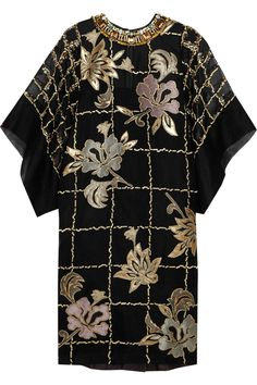 BIYAN Lucy embroidered organza dress   Fall 2014   Crafted from organza and embroidered with a floral design   Crystal and bead-embellished neckline   Grape satin-twill back for structure   Kimono sleeves   £1,360