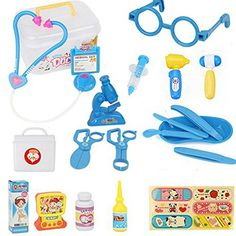 Children Doctor Pretend Play Medical Kit Role Play Sets Early Age Kids Basic Skills Development Toys Girl Boy Learning Educational Playset Toy Set (Blue) * More info could be found at the image url.