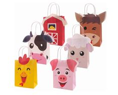 12 Farm Animals Party Favor Bags Barn Farm Animals Birthday Party Supplies Cow Pig Barn Balloon Decorations Farm Animal Party – The World Farm Animal Party, Farm Animal Birthday, Farm Birthday, Farm Party, Indoor Birthday, Decorated Gift Bags, Birthday Party Centerpieces, Baptism Centerpieces, Wild One Birthday Party
