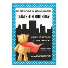 Teddy Bear Super Hero Boys Birthday Party Invite